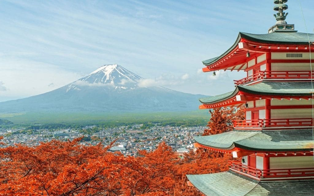 43386890 – mt. fuji with fall colors in japan.