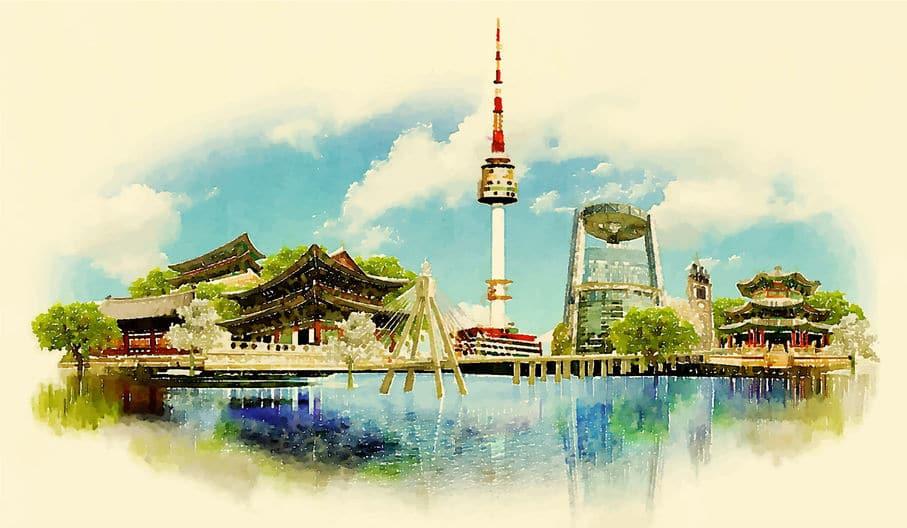 vector watercolor SEOUL city illustration