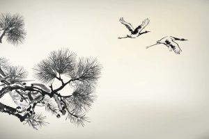 22222358 – ink style pine tree and birds